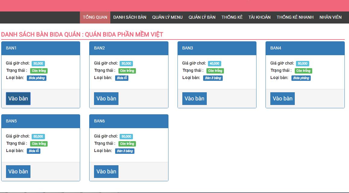 Phần mềm quản lý bida 1